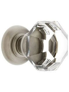 Medium Octagonal Cut Crystal Knob With Solid Brass Base | House of Antique Hardware
