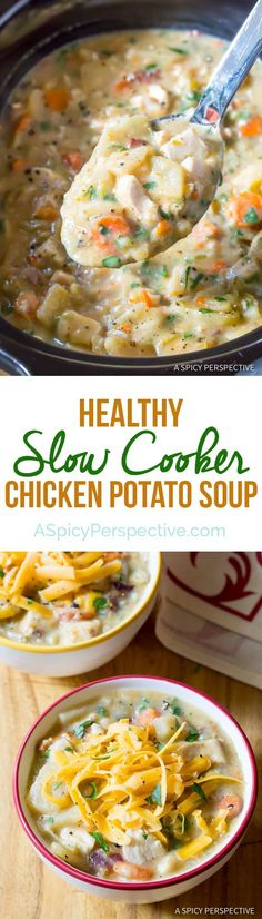 Amazing Healthy Slow Cooker Chicken Potato Soup | ASpicyPerspective...  #amazing #aspicyperspective #chicken #cooker #healthy #Healthycrockpotrecipes #potato #Slow #Soup Healthy Potato Soup, Potato Soup Recipes, Healthy Crockpot Soup Recipes, Slow Cooker Meals Healthy, Crockpot Chicken Soup Recipes, Hearty Soup Recipes, Healthy Hearty Soup, Instapot Chicken Soup, Recipes With Chicken Stock