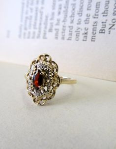 Romantic Vintage Garnet Ring in Solid 10k Yellow Gold- US Size 6. $200.00