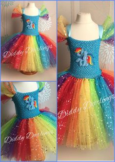 Sparkly Rainbow Dash Tutu Dress. Beautiful & lovingly handmade. All characters and colours available Price varies on size, starting from £25. Please message us for more info. Find us on Facebook www.facebook.com/DiddyDarlings1 or our website www.diddydarlings.co.uk