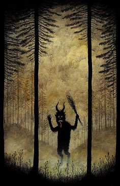 ..all those scary stories from childhood with trolls in the woods.  Painting by Andy Kehoe