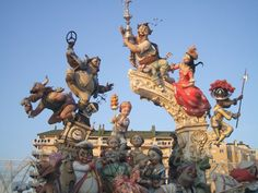 Las fallas, Valencia, Spain    Giant paper mache statues that get torched in the end