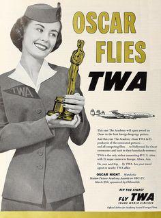 Oscar flies TWA (1957). #vintage #airlines #1950s