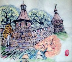 Variations on the theme of the Solovetsky Monastery Napkin, Chinese ink and mineral colors, style: painting ideas Chinese style 23.5 x 22.5 centimeters