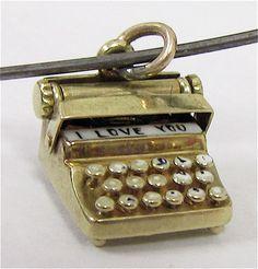 VERY RARE Sloan & Co. 14K Gold I LOVE YOU Typewriter Mechanical Charm