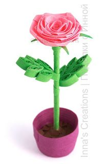 Folded rose in a flowerpot, quilled miniature