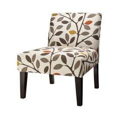 Avington Upholstered Accent Slipper Chair-Multi-Color Leaves