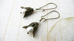 Earrings, Lily of the Valley pearl and brass dangle earrings No. E255, 20 usd, etsy