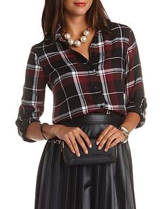 Plaid Button-Up Tunic Top: Charlotte Russe