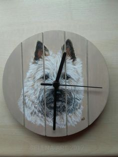 Klok met cairn terrier Mungo www.selena-art.nl