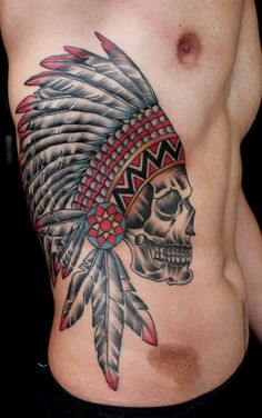 Cherokee Indian side tattoo