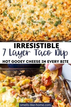 Take this 7-layer taco dip to all the parties and everyone will love you for it! Super simple to make and lots of yummy cheese! 7 Layer Taco Dip, 7 Layer Dip Recipe, Layered Taco Dip, Home Recipes, Yummy Recipes, Cooking Recipes, Best Appetizers, Appetizer Recipes, Snacks To Make