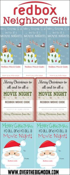 Redbox Neighbor Gift Idea - Just print the tag, write the Redbox code on it and attached it to a bag of popcorn! 3 printable versions to choose from! redbox - So Good is Neighbor Christmas Gifts, Neighbor Gifts, Merry Christmas To All, Homemade Christmas, Winter Christmas, Holiday Gifts, Christmas Crafts, Christmas Ideas, Christmas Goodies