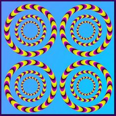 hese four circles appear to rotate at the same time. The illusion is created by the way the boomerang shapes make up the circles are shaded and because of the way they're bent.