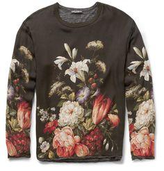 Dolce & GabbanaOversized Jersey-Lined Printed Silk T-Shirt