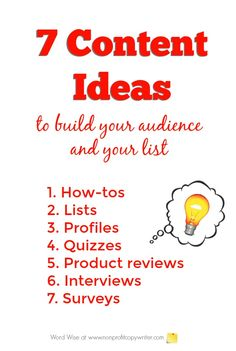 7 content ideas for content writing to build your audience and your list with Word Wise at Nonprofit Copywriter Writing Websites, Blog Writing Tips, Easy Writing, Article Writing, Writing Resources, Writing Prompts, Online Business Opportunities, Professional Writing, Freelance Writing Jobs