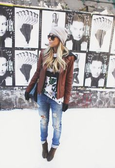 Grey beanie hat Brown leather jacket Fun shirt Jeans