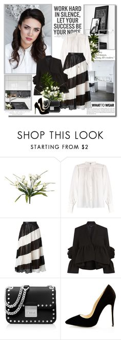 """Work hard in silence let success make the noise!!"" by lilly-2711 ❤ liked on Polyvore featuring H&M, Frame, Marco de Vincenzo, Rachel Comey, MICHAEL Michael Kors, michaelkors, blackandwhite, blouse and leatherskirt"