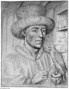 'Portrait of a Man with a Falcon', Silverpoint by Petrus Christus (1410-1475, Belgium)