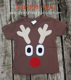 Reindeer Shirt - template provided, appliqued using double-sided magic sizing - Christy: Christmas Christmas Shirts For Kids, Diy Ugly Christmas Sweater, Christmas Sewing, Ugly Sweater, School Holiday Party, Reindeer Costume, Kids Costumes Boys, Christmas Wine Bottles, Christmas Scenes