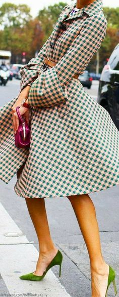 Fun spring coat in green check pattern. Love the cuffs and the flared fit.