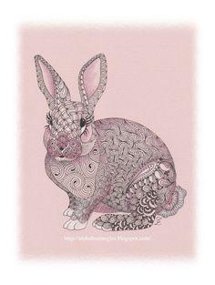 pink bunny drawing by C Langsdorf @ alphabeetangles.blogspot.com