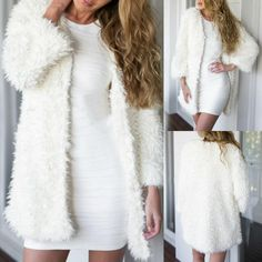 Trendy Women White Lambswool Cardigan Coat