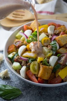 Panzanella Salad Recipe with Sausage & Smoky Buttermilk Dressing, an easy healthy dinner recipe that is ready in 30 minutes!
