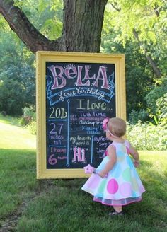 "Chalkboard ""About Me"" for Kaelyn's first birthday. Would be cute every year."