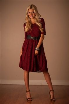 Burgundy Lace Modest Dress by Mikarose, modest dresses, modest church dresses, mikarose, trendy boutique