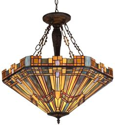 Dining Room Light Fixture Tiffany Style Stained Glass Ceiling Pendant Mission 5314655521212 | eBay