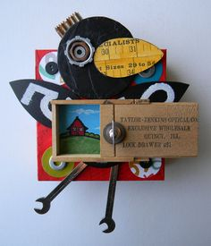 """Crow with box""-Recycled art collage - I love this with everything in my body!!!!"