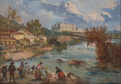 """""""Lavanderas en el Río Manzanares"""" (Madrid). Emilio Po y Dalmau  (Madrid, 1876 - 1933)"""