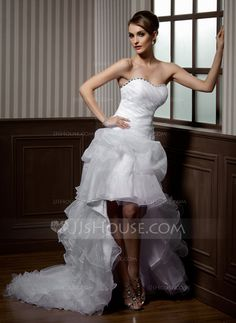 Wedding Dresses - $186.99 - A-Line/Princess Sweetheart Asymmetrical Organza Wedding Dress With Ruffle Lace Beadwork (002012695) http://jjshouse.com/A-Line-Princess-Sweetheart-Asymmetrical-Organza-Wedding-Dress-With-Ruffle-Lace-Beadwork-002012695-g12695