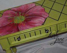 Hand Painted Unique Whimsical One of a Kind Lime Green Vanity Dressing Table Desk****FREE SHIPPING****