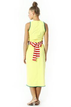 MIDI DRESS WITH EMBROIDERY DETAILED BELT %100 RAYON