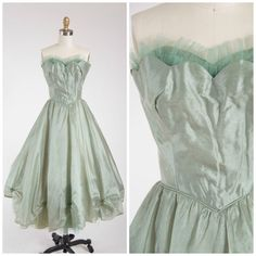 Vintage 1950s Dress  Pine Song  Sage Green by SimplyVintageCo