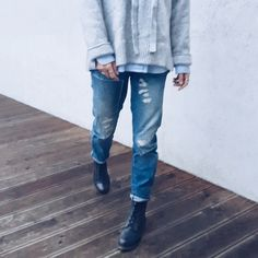 ripped denim boots cosy grey sweater Denim Boots, Ripped Denim, Grey Sweater, Cosy, Photo And Video, Sweaters, Pants, Instagram, Fashion