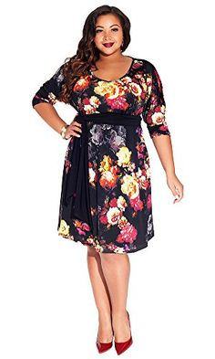 Fashion Bug Womens Plus Size Maggie Dress in Scarlett Dahlia www.fashionbug.us #PlusSize #FashionBug