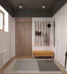 muebles de entrada, recibidor grande moderno, madera clara, banco tapizado amarillo, ventana pequeña, alfombra Foyer, Entryway, Storage Ottoman Bench, Furniture Design, Sweet Home, New Homes, Patio, Doors, House