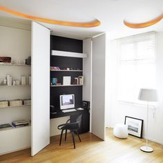 Appartement 250 - Bureau - contemporary - Home Office - Other Metro - Bismut & Bismut Architectes Tiny Home Office, Small Home Offices, Home Office Design, House Design, Office Designs, Hidden Desk, Built In Desk, Office Nook, Bedroom Office