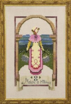 Eight Maids A Milking is the title of this cross stitch pattern from the Nora Corbett series titled 12 Days of Christmas.
