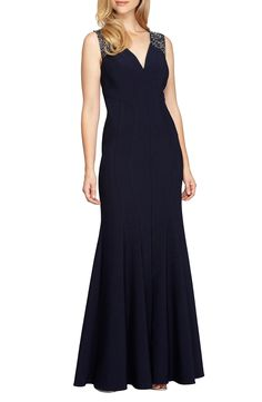 New Alex Evenings Embellished Mermaid Gown, Black fashion dress online. [$269]>>newtstyle Shop fashion 2017 <<