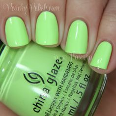 "China Glaze: Spring 2014 City Flourish Collection Swatches & Review - Peachy Polish ""Grass Is Lime Greener"" is a bright lime green."