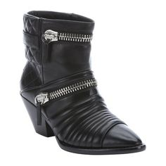 Giuseppe Zanotti Black leather 'Guns 55' zip detail ankle booties ($622) ❤ liked on Polyvore featuring shoes, boots, ankle booties, black, black boots, stacked heel booties, pointy toe booties, black pointed toe booties and black buckle boots