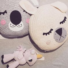 Childrens Handmade Crocheted/Knitted Animal Pillows