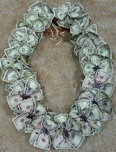 Graduation Leis, Graduation Cap Decoration, Graduation Necklace, Money Lei, Money Origami, Creative Money Gifts, Money Gifting, Money Necklace, Money Creation