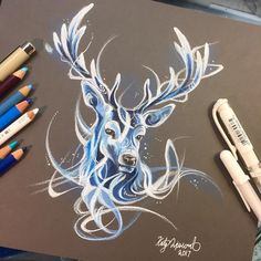 Stag Patronus Sometimes we need a bit of light to cut through the darkness. ❤️ Original on storenvy. #art #drawing #patronus #stag #deer #sketching #sketch