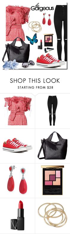 """""""Casual Jeans Outfit"""" by mozeemo ❤ liked on Polyvore featuring Rosie Assoulin, Topshop, Converse, Carlos by Carlos Santana, Bling Jewelry, Yves Saint Laurent, NARS Cosmetics and ABS by Allen Schwartz"""