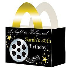 Fill with these Hollywood Nights Favor Boxes and give them to your party guests as a thank you. The Hollywood Nights Favor Boxes will include your own wording.